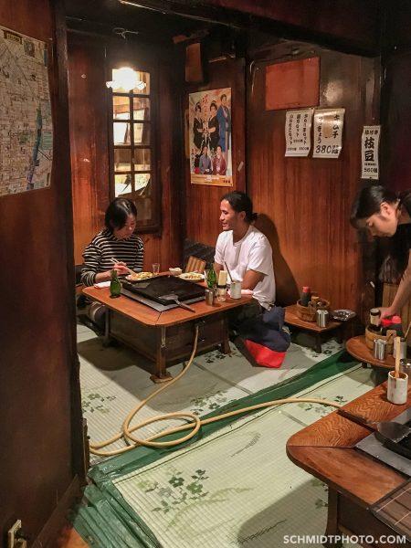 Tokyo potato pancake restaurant eat with tom