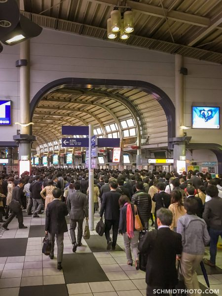 tokyo subway station packed with salarymen - 43